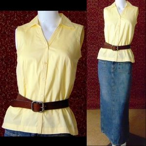 GEOFFREY BEENE yellow sleeveless fitted blouse 4